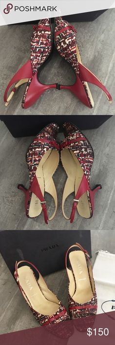 """PRADA Kitten Heel Slingbacks with Bow Beautiful preloved Authentic PRADA kitten heel sling backs with buckle closure in a rich red with navy, cream and tan print.  Some slight discoloration (some is pattern) to the silk footbed, no other visible stains, NO ODOR.  Minor knocks to leather on back of heel, see photo.  Box and dust bag included. Heel measures appx 3"""" from top of leather at footbed to heel.  These would best fit a size 8 IMO. Footbed measures appx 10"""". Prada Shoes"""