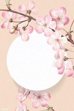 Instagram Background, Instagram Frame, Flower Frame, Flower Art, Cherry Blossom Art, Cherry Blossom Vector, Aesthetic Japan, Framed Wallpaper, Japanese Flowers