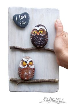 Funny Hand Painted I Love You 3-D Artwork with Owls in Love!  My hand painted 3-D paintings are unique pieces of art! Ready to hang, they are made with painted pebbles, twigs and smooth marble hearts. I paint them using high quality acrylics and each element is stuck with a power glue.  All designs are created with my imagination. They are protected with a mat varnish coat and are signed and accompanied by a Certificate of Authenticity.  * Place your order choosing how many rock painted…