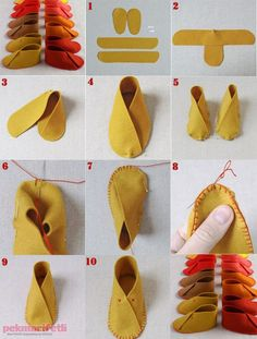 Easy-made baby shoes made of felt - Baby Kleidung - Sewing Slippers, Baby Slippers, Felted Slippers, Doll Shoe Patterns, Baby Shoes Pattern, Baby Moccasin Pattern, Felt Patterns, Sewing Patterns, Handgemachtes Baby