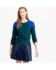 J.Crew | Green Sweatshirt With Floral Appliqué | Lyst