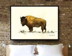 "American Buffalo Painting - up to 40"" - Large Size Watercolor Painting art wall - Buffalo Bison forest animal - by Juan Bosco by JuanBosco on Etsy https://www.etsy.com/listing/255472772/american-buffalo-painting-up-to-40-large"