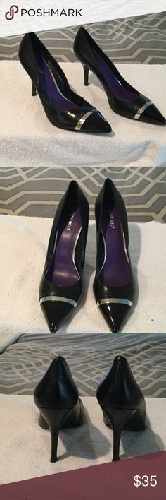 """NWOT beautiful pumps Nine West matte black leather with black patent leather tips and heels. Silver band detail. Brand new, never worn. 4"""" heels Nine West Shoes Heels"""
