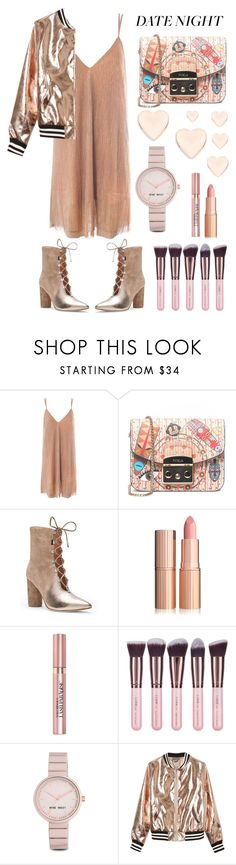 """date night ft rose gold"" by jjannata ❤ liked on Polyvore featuring Sans Souci, Furla, Sigerson Morrison, L'Oréal Paris, Luxie, Nine West and Ted Baker"