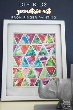 Geometric Art from Children's Finger Painting - Lemon Thistle Toddler Arts And Crafts, Toddler Art Projects, Baby Crafts, Craft Projects, Finger Painting For Toddlers, Toddler Finger Paint, Finger Painting Art, Baby Finger Paint, Toddler Painting Ideas
