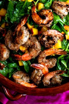 Grilled Shrimp With Wilted Spinach and Peaches Recipe - NYT Cooking [in my Google Drive]