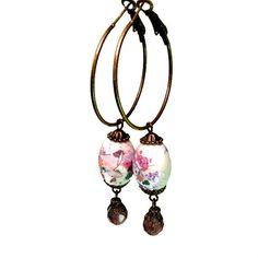 Bead Hoop Earrings, Vintage Inspired Jewelry, Asian Style, Bead Dangles, Floral