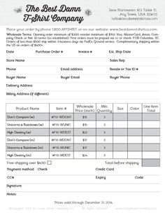 How to create a great wholesale order form. via Lucky Break Consulting Blog.