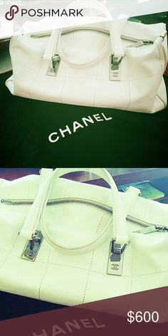 Authentic! Chanel Sharing my new baby?? Gorgeous white leather, silver hardware! might think about selling or trading for equal value only, right now, enjoying this bag, great summer satchel CHANEL Bags Satchels