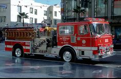 An usual scene. A fire engine parked in the Hollywood walk of fame!