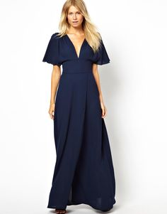 Maxi Dress With Plunge Neck And Fluted Sleeve