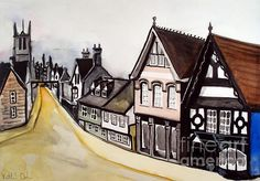 Karavella Atelier: High Street of Stamford in England original watercolor painting by Dora Hathazi Mendes Gifts For Art Lovers, Lovers Art, Original Artwork, Original Paintings, Contemporary Artwork, Acrylic Colors, Online Art Gallery, Fine Art America, Watercolor Paintings
