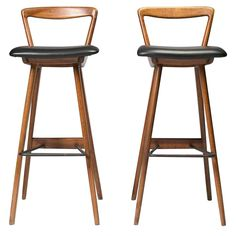 Mid-Century Modern Teak Barstools by Rosengren Hansen | From a unique collection of antique and modern stools at https://www.1stdibs.com/furniture/seating/stools/