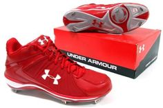 Under Armour Ignite Mid Mens Metal Baseball Cleats Red 13 by Under Armour. $34.95. Get the game going in the Under Armour Ignite ST baseball shoe. This baseball cleat uses a combination of synthetic leather and breathable mesh to give you lightweight performance and maximum breathability in the upper. HeatGear® liners wick moisture, keeping the foot cool, dry and comfortable. A TPU abrasion-resistant toe guard adds durability. The midsole features full-length A...