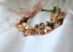 Coffee colored flower crown with pearls / sea by creatingwithni