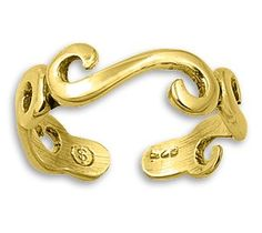 Gold Plated Silver Swirl Mid Finger / Knuckle Ring