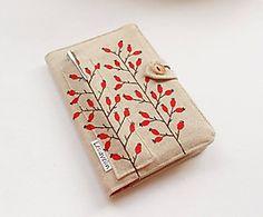 Obal na knihu - Kvitnúca tráva (natur 100% ľan) / Lesiavelin - SAShE.sk - Handmade Papiernictvo Zip Around Wallet, Sewing, Dressmaking, Couture, Stitching, Sew, Costura, Needlework