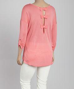 Love this Dark Pink Roll-Tab Pocket Top - Plus on #zulily! #zulilyfinds