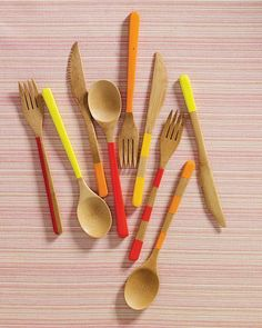 Transform reusable bamboo utensils with a few deft strokes of model paint, which can withstand hand-washing.