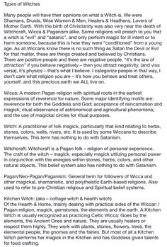 Book of Shadows:  #BOS Types of Witches 1 page.