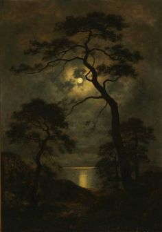 landscape photo Landscape in Moonlight ~ Georg Emil Libert - (Danish, 1820 - Landscape Art, Landscape Paintings, Landscape Photography, Art Photography, Art Noir, Moonlight Painting, Arte Obscura, Beautiful Moon, Moon Art