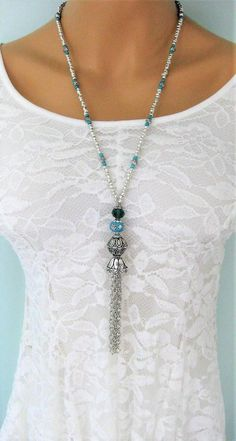 DIY Imitation Stone Jade Marble Resin Straight Hole Handmade Jewelry Accessories Earbob Material Pendant Jewelry Making Findings - Custom Jewelry Ideas Beaded Tassel Necklace, Tassel Jewelry, Blue Necklace, Diy Necklace, Bohemian Jewelry, Beaded Jewelry, Turquoise Necklace, Silver Jewelry, Jewelry Necklaces