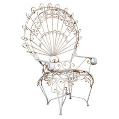 Antique French Peacock Garden Chairs | From a unique collection of antique and modern armchairs at http://www.1stdibs.com/furniture/seating/armchairs/