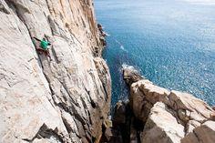 Climbing a sea cliff in South Korea
