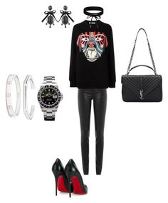 """Unbenannt #73"" by sabrinaahz on Polyvore featuring Mode, Helmut Lang, Givenchy, Christian Louboutin, Yves Saint Laurent, Rolex, Boohoo, Blue Nile, Dsquared2 und Cartier"