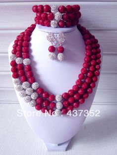 2014 New Fashion Nigerian Wedding African Beads Jewelry set Red Artificial Coral Beads Bridal Jewelry Set CWS-270 $78.85