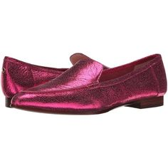 Kate Spade New York Carima (Fuchsia Crackled Metallic Nappa) Women's...  ($140) ❤ liked on Polyvore featuring shoes, red, leather upper shoes,  slip-on shoes ...