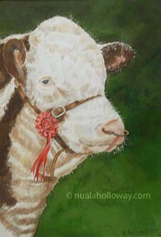 """Prize Bull"" by Nuala Holloway - Watercolour #Bull #IrishArt #NualaHolloway #AnimalArt"