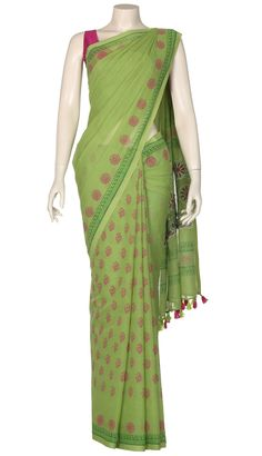 Lime Green Printed and Appliquéd Cotton Saree