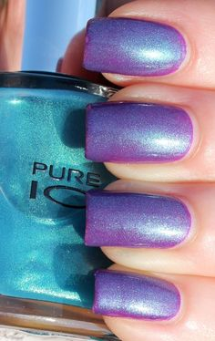 Sephora + Pantone Universe Parachute Purple dupe: This is two coats of Sally Hansen Insta Dri in Vigorous Violet with two coats of Pure Ice Heartbreaker.