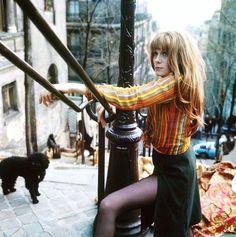 Françoise Dorleac on the steps at Montmartre, Paris, 1960s.