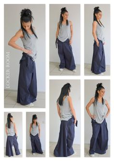 Low crotch pants / Loose cotton pants / Drop crotch pants / Extravagant trousers