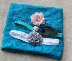 Blue NO2 Newborn Baby Christmas Floral Stretch Lace Wrap Photo Prop 3 Headbands | eBay