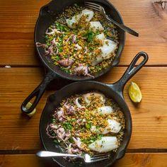 Seared Calamari with Breadcrumbs and Lemon Recipe | Tasting Table