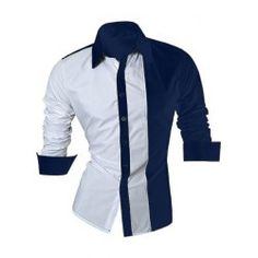 Color Block Splicing Design Turn-Down Collar Long Sleeve Shirt For Men African Shirts, African Wear, Casual Shirts For Men, Men Casual, Mens Designer Shirts, Stylish Mens Fashion, Slim Fit Dress Shirts, Men Style Tips, Look Cool