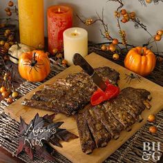 Our Best Party Ideas for a Grown-Up Halloween Party adams ribs halloween food display Diy Halloween Party, Scary Halloween Food, Hallowen Food, Halloween Dinner, Halloween 2018, Holidays Halloween, Creepy Food, Halloween Nails, Halloween Stuff