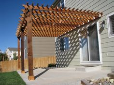 Pergola Attached To House Astonishing Design Walnut Stained Finish Wooden Posts Crossbeams Rafters Battens Ledger Terrace Patio Decoration