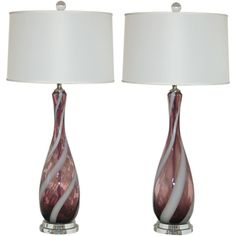 Vintage Italian Glass Lamps in Grape with White Ribbon Swirl | 1stdibs.com