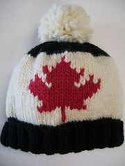 Cheer on Canada!  Knit your own Maple Leaf Toque  free pattern by Michele C Meadows