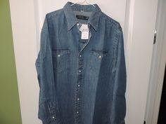 Ralph Lauren Polo Designer 100% Cotton Cool Blue Denim Western Shirt SZ L NWT  #RalphLauren #Western