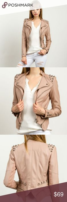 Faux Leather Jacket Blush colored, faux leather, long sleeve punk spike studded shoulder jacket with a zip closure.   Fabric Content: 57% PU Leather, 43% Viscose Lining | 100% Polyester  ❌Trades ✅ Price Firm ✴️ Bundles Save 20% Jackets & Coats