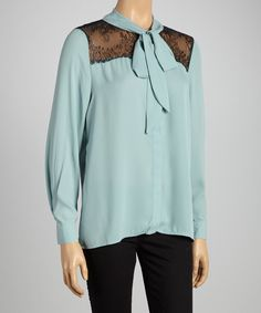 Mint & Black Lace-Panel Tie Button-Up - Women by Select Brands #zulily #zulilyfinds