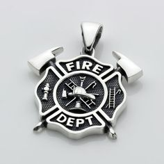Small Firefighter Fire Department Maltese Cross with Crossed Axes Sterling Silver Necklace Pendant Maltese Cross, Fire Department, Box Chain, Axe, New Tattoos, Sterling Silver Necklaces, Two By Two, Pendant Necklace, Fighter Tattoos