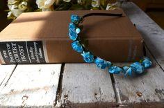 Periwinkle Blue Rose Floral Crown, Blue Flower Headband, Flower Crown, Wedding Headpiece, Bridesmaid headpiece, flower girl headband