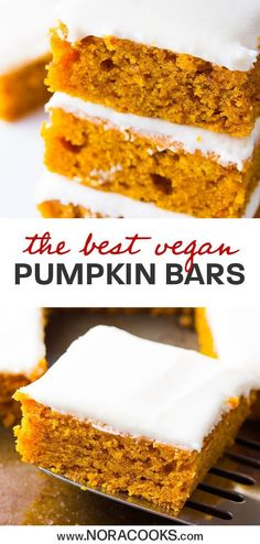 "Vegan Pumpkin Cake Bars are made of fluffy, moist pumpkin sheet cake and topped with a ""cream cheese"" icing. A Fall tradition! Pecan Bars, Cake Bars, Vegan Thanksgiving, Thanksgiving Celebration, Thanksgiving Table, Superfood, Pumpkin Sheet Cake, Vegan Dessert Recipes, Cake Recipes"