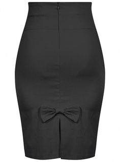 """Buy the Women's """"Bow Back"""" Pencil Skirt by Double Trouble Apparel (Black) at Inked Shop. We've got coupon codes everyday!"""